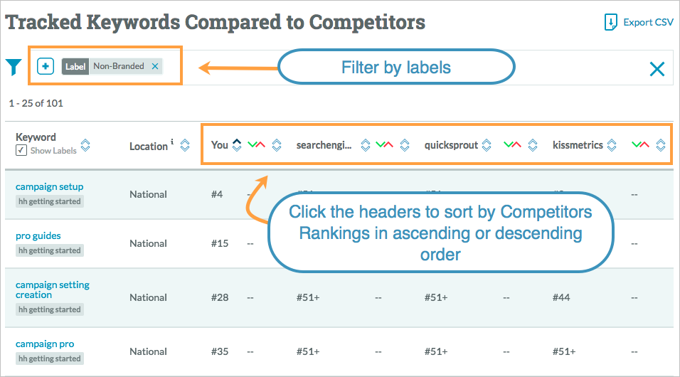 competitor rankings