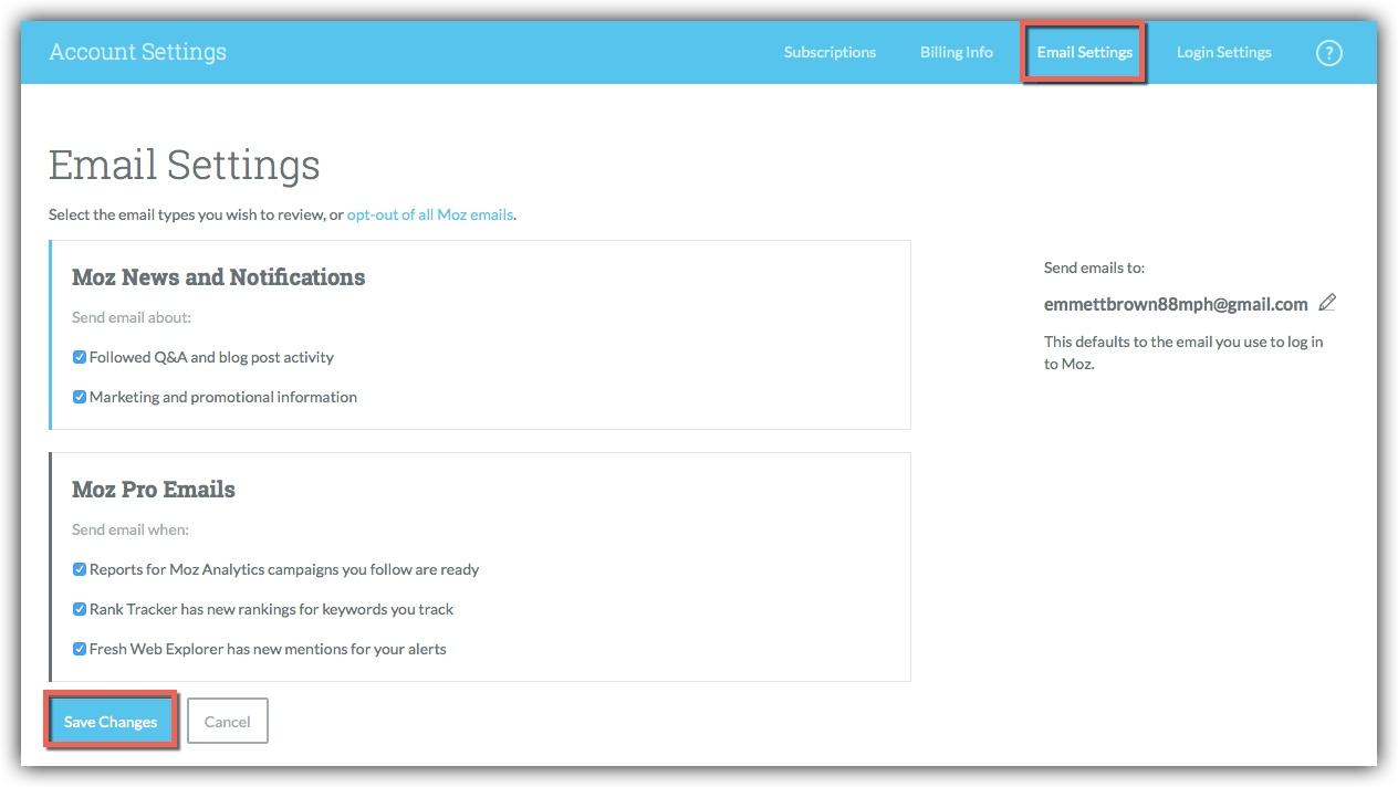 Global email settings