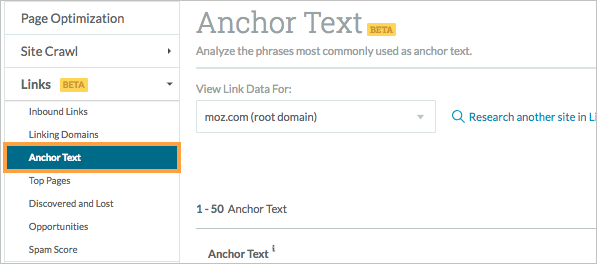 anchor text menu