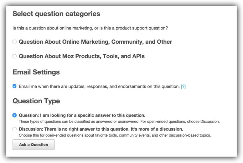 asking a question moz help hub