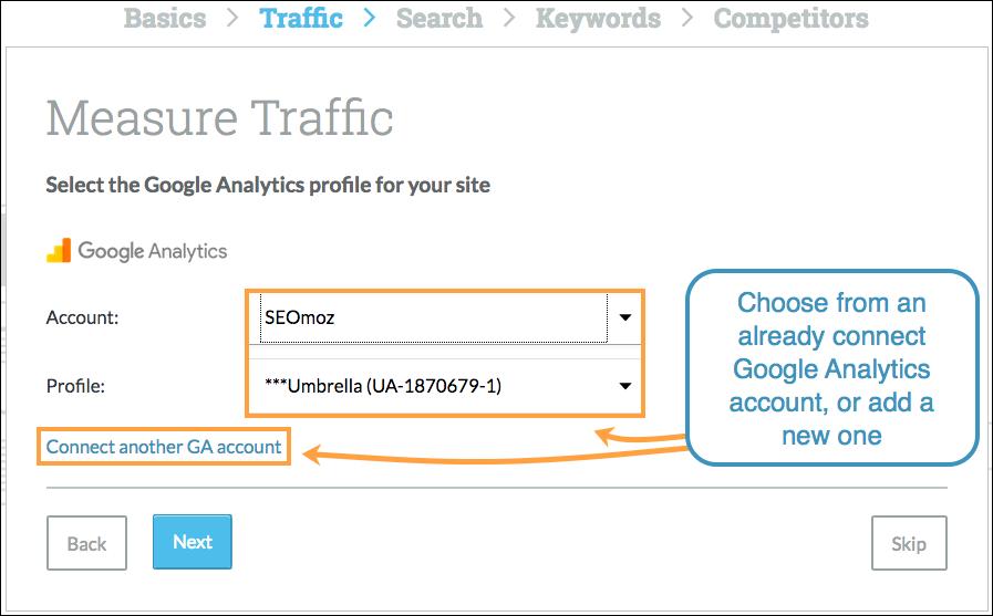 Choose Google Analytics Account