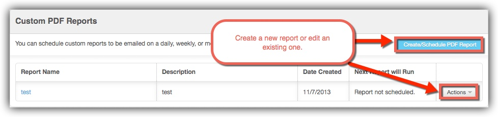 Custom reports actions