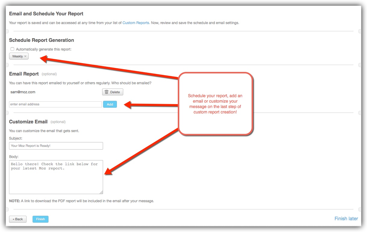 finalize your custom report