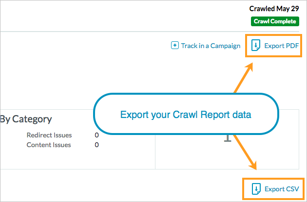 export crawl report