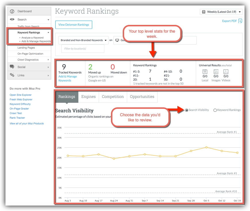 Rankings in Moz