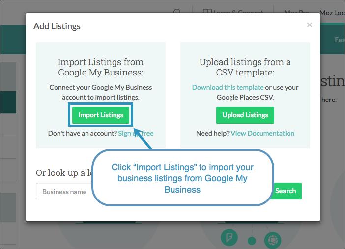 import listings gmb