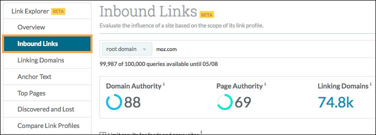 inbound links menu