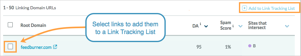 add to link tracking list