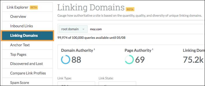 linking domains menu
