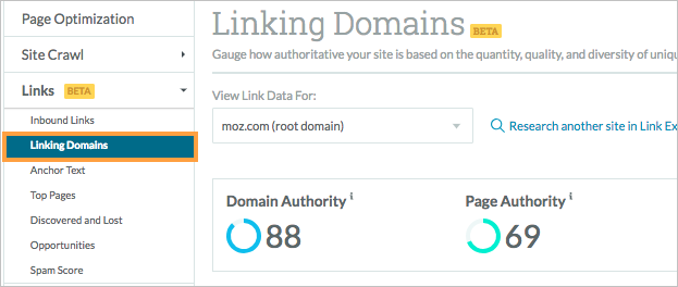 linking domains menu