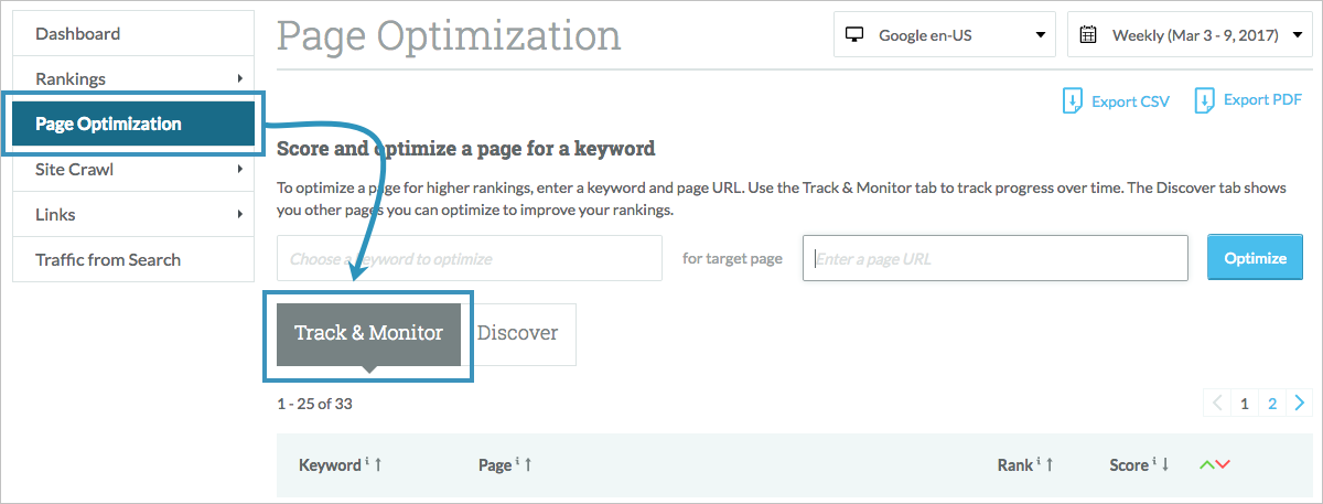 page optimization tab
