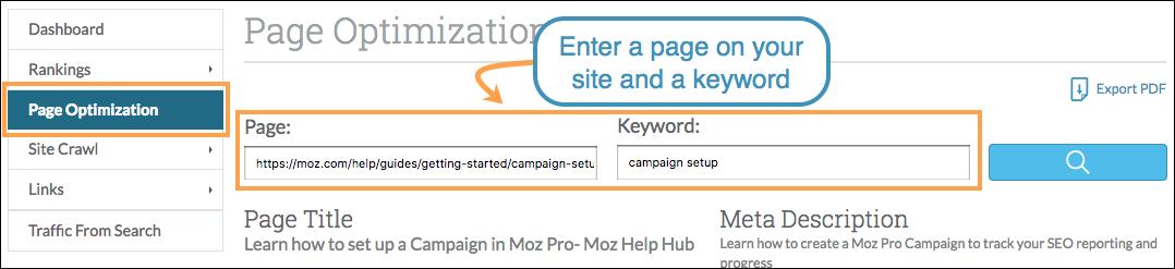 Page Optimization navigation