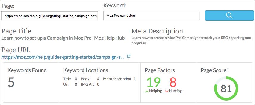 Page optimization score