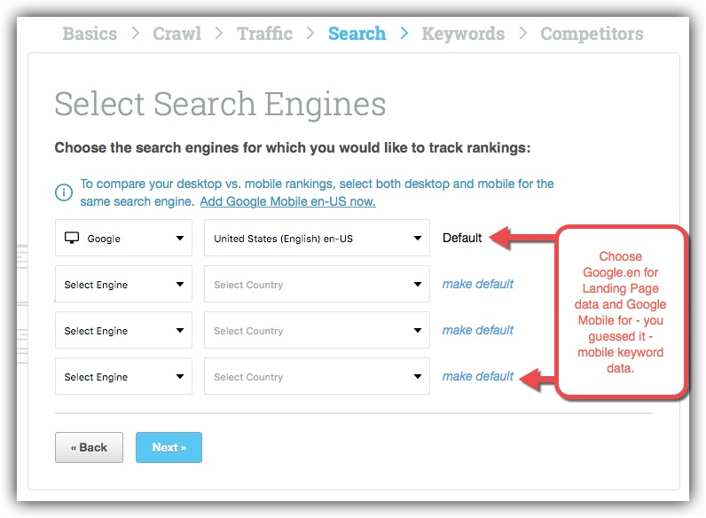 Setup primary search engines