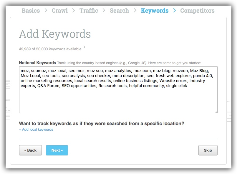 Setup keywords