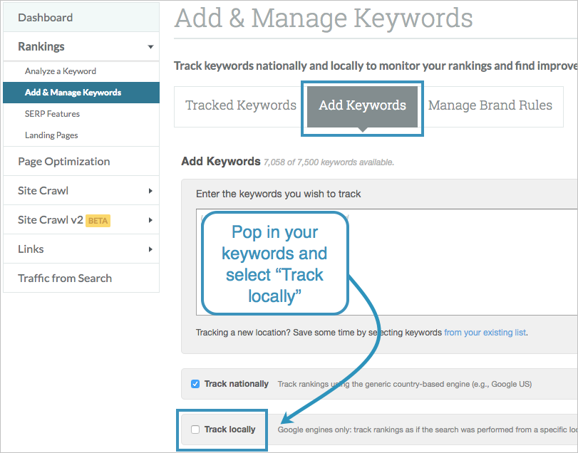 track keywords locally